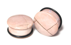 Beautiful Petrified Wood Plugs, Beige 1""