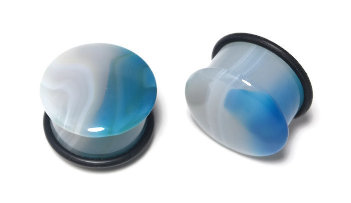 Blue Agate Plugs, One of a Kind 3/4""