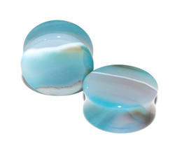 Rare Blue Agate Plugs, 1""