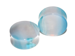 Unique Blue Agate Plugs 1""