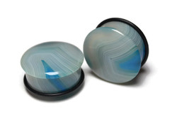 One of a Kind Blue Agate Plugs 1""