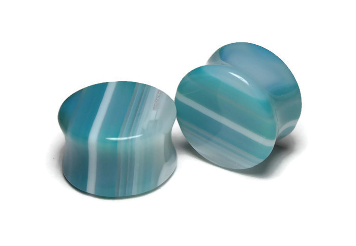 Gorgeous Blue Agate Plugs 3/4""