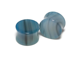 Beautiful Blue Agate Plugs size 5/8""