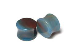 Unique Blue Agate Plugs 5/8""