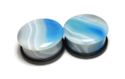 Gorgeous Blue Agate Plugs 1""