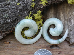 One of a Kind Jadeite Spirals size 7/16""