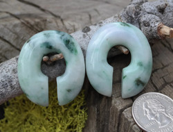 Gorgeous One of a Kind Jadeite Donuts 7/16""