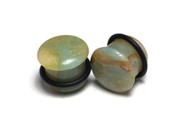 Beautiful Pair of One of a Kind Amazonite Plugs 9/16""