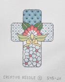 Hand-Painted Needlepoint Canvas - Creative Needle - 545-JH - Talavera Cross Little Blue Flowers