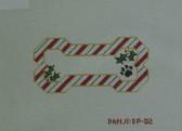 Hand-Painted Needlepoint Canvas - Danji Designs - BP-02 - Candy Cane Bone Ornament
