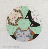 Hand-Painted Needlepoint Canvas - Patti Mann - 5522 - 3 Curious Kitties