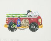 Hand-Painted Needlepoint Canvas - 7347 - Patti Mann - Santa Firetruck