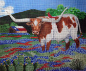 Hand-painted Needlepoint Canvas - Nenah Stone - Longhorn Summer - 13m - SC227