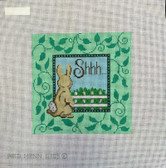Hand-Painted Needlepoint Canvas - Patti Mann – 11305 – sign, Shhh...with bunny
