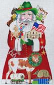 Hand-Painted Needlepoint Canvas – Amanda Lawford – 7066 – Texas Santa