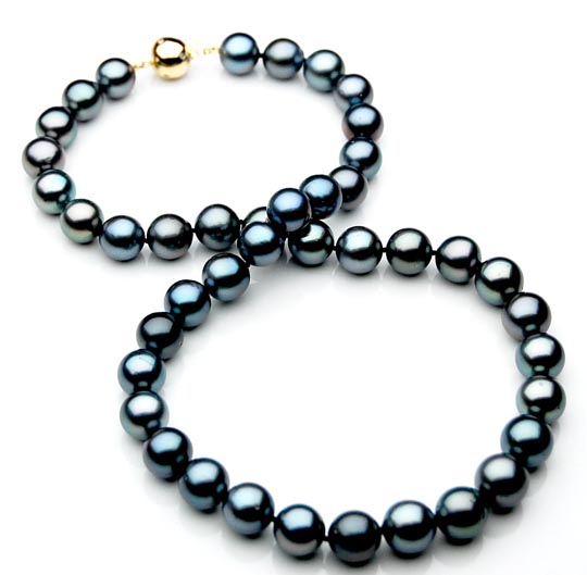 tn014 aaa 10 12 mm tahitian black pearl necklace gold. Black Bedroom Furniture Sets. Home Design Ideas