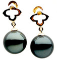 TE008b (AAA 11mm Tahitian Black Pearl Earrings In 18k Yellow Gold )