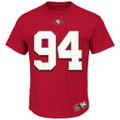 49ers Charles Hayley Hall of Fame Red Name & Number T-Shirt Front