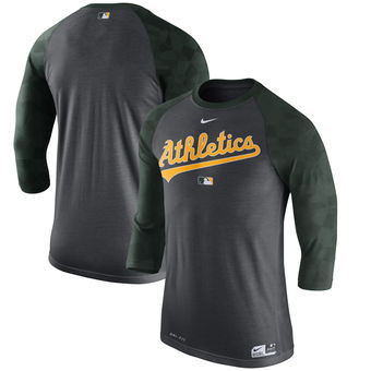 Oakland Athletics Nike Authentic Collection Legend 3/4-Sleeve Raglan Performance T-Shirt - Charcoal
