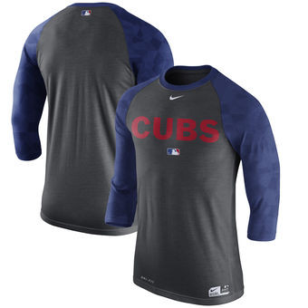 Chicago Cubs Nike Authentic Collection Legend 3/4-Sleeve Raglan Performance T-Shirt - Charcoal