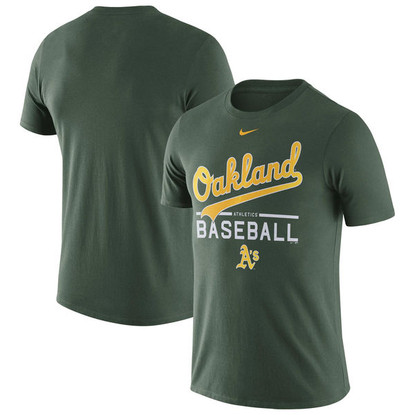 Oakland Athletics Nike Away Practice T-Shirt in Green
