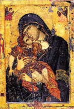 Icon of the Sweet Kissing (Glykophilousa) - 12th c. Philotheou Monastery - (12G45)