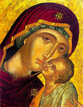 Icon of the Panagia of Tenderness (detail) - 16th c. Cretan - (12G04)