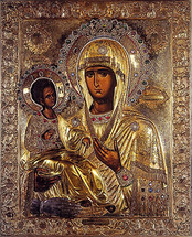 Icon of the Panagia of the Three Hands (Tricheroussa) - Hilandar Monastery - (12G53)