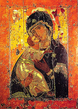 Icon of the Vladimir Theotokos (Vladimirskaya) - 12th c. Russian - (12G30)