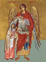 Icon of the Guardian Angel with little girl - 20th c. - (1AN21)