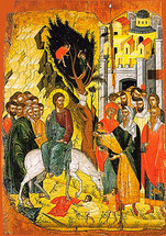 Icon of the Entry into Jerusalem (Palm Sunday) - 16th c. Cretan - (11F01)