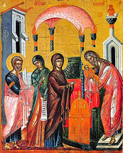 Icon of the Meeting of the Lord - 17th c. Dionysiou Monastery - (11B02)