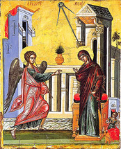 Icon of the Annunciation - 16th c. Dionysiou Monastery - (12D02)