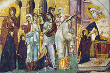 Icon of the Presentation (Entrance) of the Theotokos in the Temple - 14th c. Panselinos - (12C01)