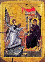 Annunciation Icon- 14th c. Ochrid - (12D07)