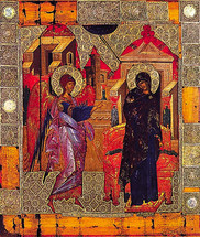 Annunciation Icon- 14th c. Vatopaidi Monastery - (12D06)