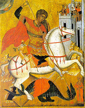 Icon of St. George - 17th c. Cretan - (1GE13)