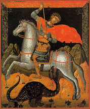 icon of St. George - 17th c. Cretan - (1GE10)