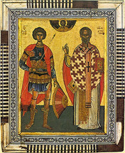 Icon of St. George the Trophy-Bearer and St. Nicholas the Wonderworker - (1GN10)