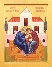 Icon of Ss. Joachim & Anna, Embracing Panagia - (1JA90)