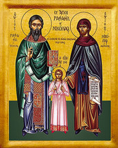 Icon of St. Raphael, Nicholas & Irene - 20th c. St. Anthony's Monastery - (1RN10)
