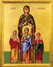 Icon of Ss. Sophia, Faith, Hope & Love - 20th c. - (1SO10)