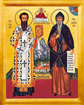Icon of Ss. Sava and Symeon of Serbia (Builders of Hilandar Monastery) - (1SS10)
