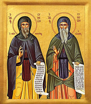 Icon of Ss. Symeon the New Theologian and Symeon the Pious - (1SY52)