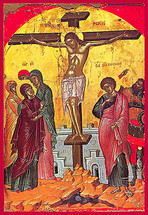 Icon of the Crucifixion - 16th c. Theophan the Cretan - (11H07)