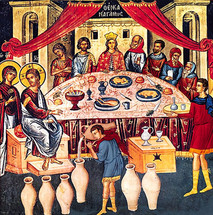 Icon of the Wedding at Cana - 15th c. Meteora - (11P10)