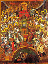 Icon of the First Ecumenical Council - 16th c. Cretan - (11L60)
