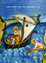 Icon of St. Nicholas - Protector of those at Sea - 20th c. - (1NI17)