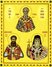 Icon of the Three New Hierarchs (Ss. Photios the Great, Gregory Palamas & Mark of Ephesus) - 20th c. - (1TH95)
