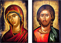 Icon Set: Byzantine Christ & Theotokos - (MCT14)